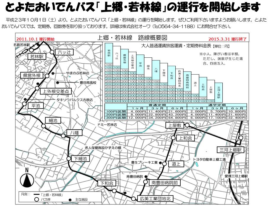 おいでんバス - 上郷若林線の路線図