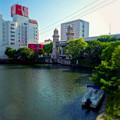 松重橋から見た松重閘門(チルトシフト、フィルター有り)- 6