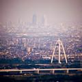 岐阜城天守閣から見た景色のミニチュアライズ - 8(ツインアーチ138と名駅ビル群、フィルター有り)