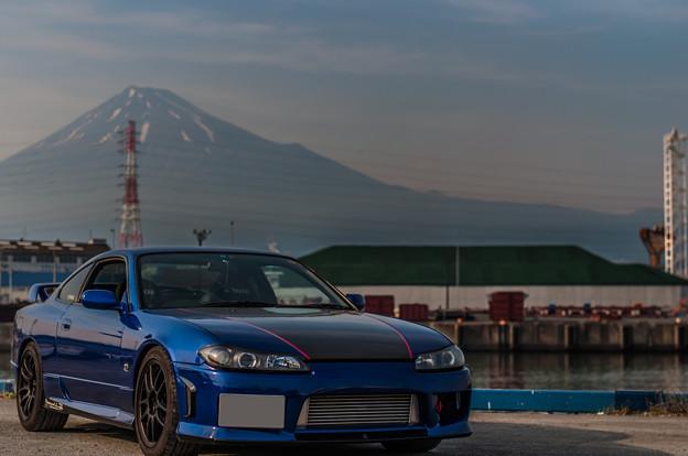 富士山と港で2ショット