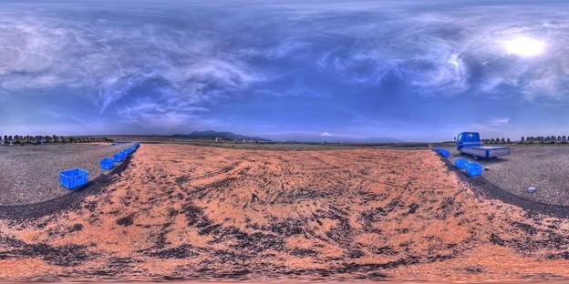 富士川河川敷 桜えび干し 360度パノラマ写真 HDR