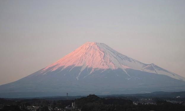 表富士からの淡い夕方の紅富士