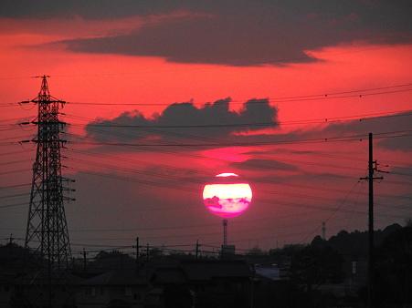 色が変化する夕陽
