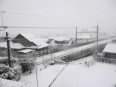 市街地が見えない雪の朝