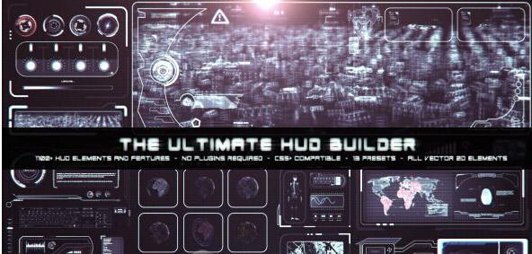 终极HUD界面动画AE模板合辑(Videohive The Ultimate HUD Builder)