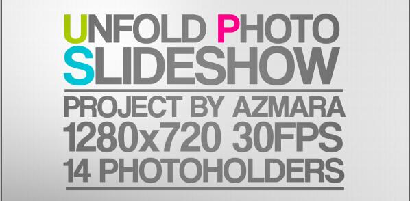 折叠图片AE模板(Unfold Photo Slideshow)