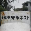 徳島本線学駅前の白ポストの細部。塗り直し書き直しと悪戯の痕跡。(2015年)