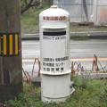 徳島県の徳島本線江口駅前の白ポスト、正面。(2015年)
