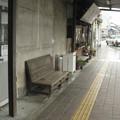 福井県鯖江市の福井鉄道神明駅前の白ポストと周辺。(2015年)