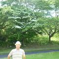 写真: 足利城ゴルフ倶楽部8番ショートホール画像2015.5.27グリーン奥の山ぼうしを前に幹事