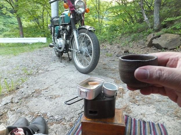 燗銅壺とバイク