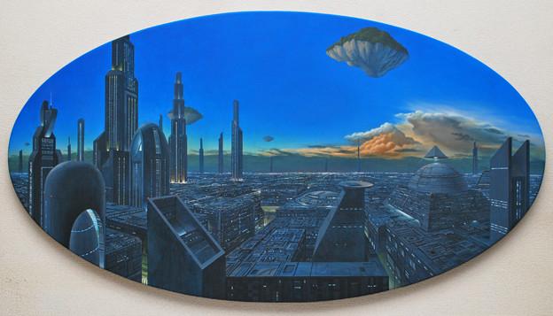 未来都市と宙に浮かぶ緑の島