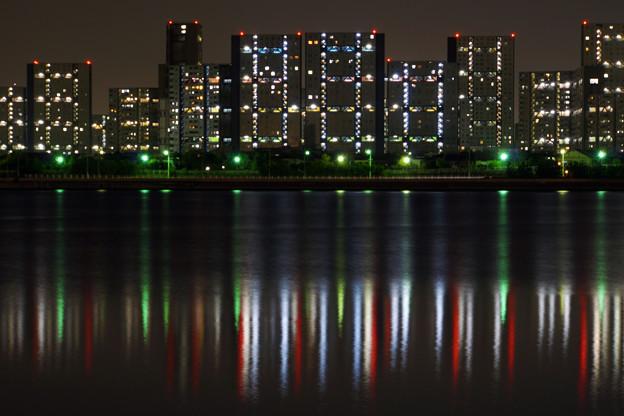 芦屋マンション群の夜景