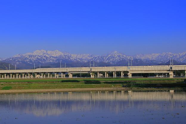 北陸新幹線 北アルプス 剣岳 立山連峰