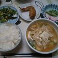 Photos: 夕食 具沢山味噌汁に野菜オムレツ他でした