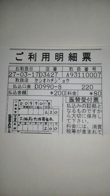 大阪府共同募金会に寄付した明細書(2015/03/17)