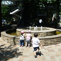 噴水で遊ぶ園児達