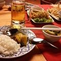 カンボジアにて夕食中